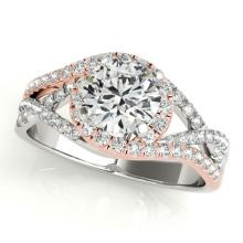 Genuine 1.50 CTW Certified Diamond Bridal Solitaire Halo Ring 14K Two Tone Gold - 24461-REF#312A8X