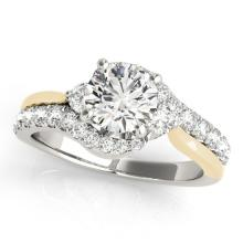 Genuine 1.60 CTW Certified Diamond Bypass Solitaire Bridal Ring 14K Two Tone Gold - 25594-REF#302F8V