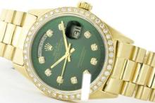 Rolex Men's 18K Yellow President, QuickSet, Diamond Dial & Diamond Bezel-REF#1356N2F