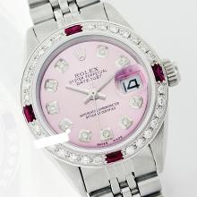 Rolex Men's Stainless Steel, QuickSet, Diam Dial & Diam/Ruby Bezel-REF#468H3M