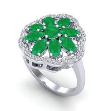 Genuine 4.0 CTW Emerald & Diamond Certified Cluster Designer Halo Ring Gold - 20779-REF#50T3K