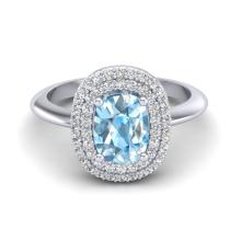 Genuine 2.50 CTW Sky Blue Topaz With Micro Pave Diamond Ring Halo Bridal 14K Gold - 20737-REF#68M5G