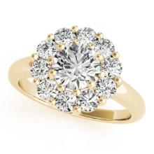 Genuine 1.38 CTW Certified Diamond Bridal Solitaire Halo Ring 14K Yellow Gold - 24862-REF#174N4F