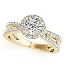 Genuine 1.36 CTW Certified Diamond Bridal Solitaire Halo Ring 14K Yellow Gold - 24470-REF#178Y2Z