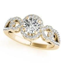 Genuine 1.38 CTW Certified Diamond Bridal Solitaire Halo Ring 14K Yellow Gold - 24535-REF#296F7V