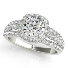 Genuine 1.75 CTW Certified Diamond Bridal Solitaire Halo Ring 14K White Gold - 24593-REF#195Z3T
