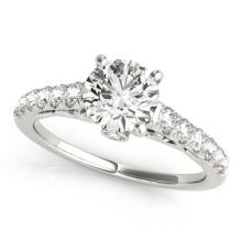 Genuine 1.50 CTW Certified Diamond Solitaire Bridal Ring 14K White Gold - 25445-REF#296F2V