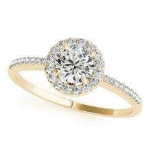 Genuine 1.20 CTW Certified Diamond Bridal Solitaire Halo Ring 14K Yellow Gold - 24203-REF#294H7M