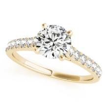 Genuine 1.0 CTW Certified Diamond Solitaire Bridal Ring 14K Yellow Gold - 25435-REF#103N7F