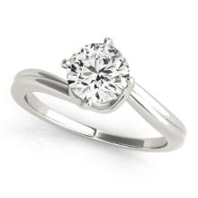 Genuine 1.0 CTW Certified Diamond Bypass Solitaire Bridal Ring 14K White Gold - 25511-REF#294G3N