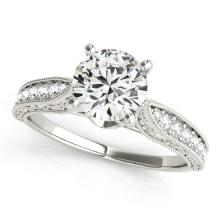 Genuine 1.50 CTW Certified Diamond Solitaire Bridal Antique Ring 14K White Gold - 25208-REF#397V3A