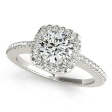 Genuine 0.75 CTW Certified Diamond Bridal Solitaire Halo Ring 14K White Gold - 24444-REF#109T3K