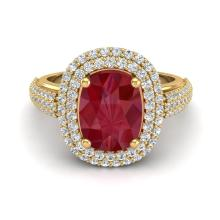 Natural 3.50 CTW Ruby & Micro Pave Diamond Certified Halo Ring 18K Gold - 20722-REF#120N3F