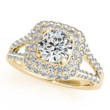 Genuine 1.53 CTW Certified Diamond Bridal Solitaire Halo Ring 14K Yellow Gold - 24314-REF#185N6F
