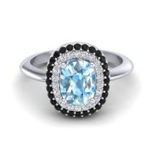 Natural 2.50 CTW Sky Blue Topaz With Black & White Micro Pave Diamond Ring Halo Gold - 20726-REF#68V5A