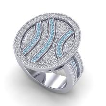 Natural 1.25 CTW Micro Pave Blue & White Diamond Certified Ring 14K Gold - 20874-REF#107W7H