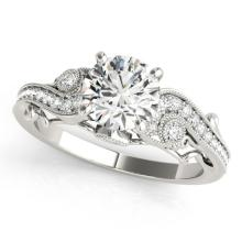 Genuine 1.50 CTW Certified Diamond Solitaire Bridal Antique Ring 14K White Gold - 25262-REF#382T4K