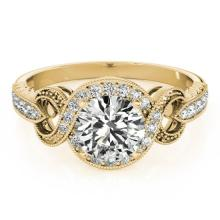 Genuine 1.05 CTW Certified Diamond Bridal Solitaire Halo Ring 14K Yellow Gold - 24431-REF#156T2K