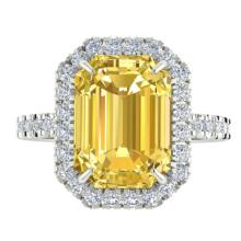 Genuine 4.50 CTW Citrine And Micro Pave Diamond Certified Halo Ring 18K Gold - 21423-REF#62H2M