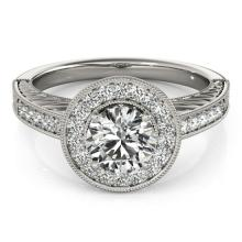 Genuine 1.50 CTW Certified Diamond Bridal Solitaire Halo Ring 14K White Gold - 24372-REF#370K2W