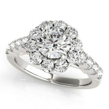 Genuine 2.35 CTW Certified Diamond Bridal Solitaire Halo Ring 14K White Gold - 24222-REF#334V7A