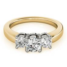Genuine 1.33 CTW Certified Diamond 3 Stone Bridal Ring 14K Yellow Gold - 25918-REF#203W2H