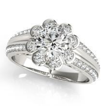 Genuine 0.85 CTW Certified Diamond Bridal Solitaire Halo Ring 14K White Gold - 24878-REF#109M5G