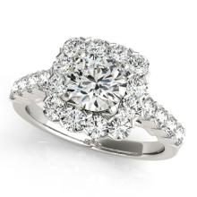 Genuine 1.50 CTW Certified Diamond Bridal Solitaire Halo Ring 14K White Gold - 24054-REF#126H8M