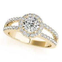 Genuine 1.25 CTW Certified Diamond Bridal Solitaire Halo Ring 14K Yellow Gold - 24278-REF#138M5G