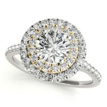 Genuine 1.0 CTW Certified Diamond Bridal Solitaire Halo Ring 14K Two Tone Gold - 24067-REF#109V2A