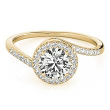 Genuine 0.75 CTW Certified Diamond Bypass Solitaire Bridal Ring 14K Yellow Gold - 25504-REF#99Y2Z