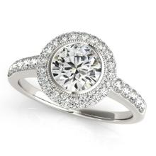 Genuine 1.50 CTW Certified Diamond Bridal Solitaire Halo Ring 14K White Gold - 24869-REF#303M9G