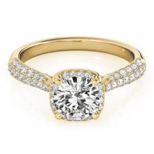 Genuine 1.50 CTW Certified Diamond Bridal Solitaire Halo Ring 14K Yellow Gold - 24017-REF#297M4G