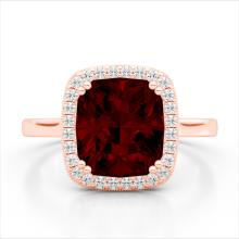 Natural 3.0 CTW Garnet & Micro Pave Diamond Certified Halo Solitaire Ring 14K Gold - 22844-REF#39F3V