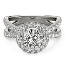 Genuine 1.51 CTW Certified Diamond Bridal Solitaire Halo Ring 14K White Gold - 24611-REF#133M8G