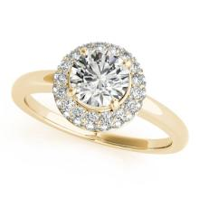 Genuine 1.0 CTW Certified Diamond Bridal Solitaire Halo Ring 14K Yellow Gold - 24326-REF#153X7Y