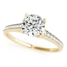 Genuine 1.50 CTW Certified Diamond Solitaire Bridal Ring 14K Yellow Gold - 25312-REF#301T3K