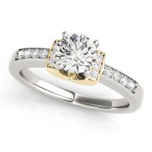 Genuine 0.61 CTW Certified Diamond Solitaire Bridal Ring 14K Two Tone Gold - 25287-REF#101N4F