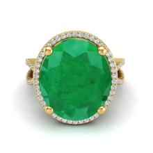 Genuine 12 CTW Emerald & Micro Pave Diamond Certified Halo Ring 18K Gold - 20961-REF#104K8W