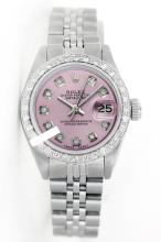 Rolex Ladies Stainless Steel, Diamond Dial & Diamond Bezel, Saph Crystal-REF#348V2A