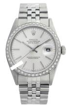 Rolex Men's Stainless Steel, QuickSet, Index Bar Dial Diamond Bezel-REF#468W3H