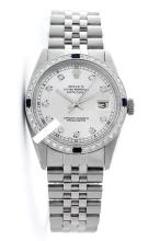 Rolex Men's Stainless Steel, QuickSet, Diam Dial & Diam/Sapphire Bezel-REF#468W3H