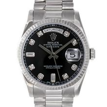 Pre-owned Excellent Condition Authentic Rolex Quickset Men's 18K White Gold Day-Date Black Dial Watch - REF#-980W8G