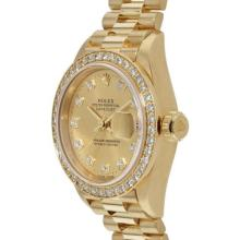 Pre-owned Excellent Condition Authentic Rolex Quickset Men's 18K Yellow Gold DateJust Champagne Dial Watch - REF#-1110Z2T