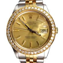 Pre-owned Excellent Condition Authentic Rolex Quickset Men's 18K/Stainless Steel DateJust Champagne Dial Watch - REF#-443T4K