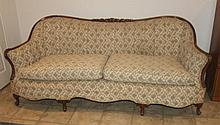 Full Size Vintage Wood Trim Parlor Couch
