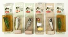 6 Heddon Lures new on cards, Baby Lucky 13s, Chugger and others