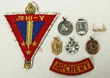 8 Vintage Archery Patch & Medals