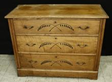 Decorative Wheat Design 3 Drawer Wood Dresser