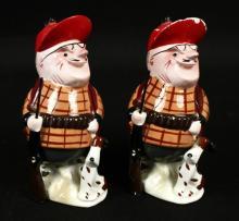 Vintage Porcelain Hunter Buddies w/ Dog Figurines